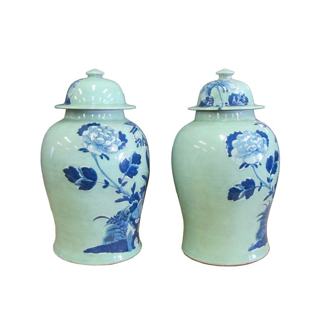 Chinese Blue Porcelain Temple Jars - A Pair - Image 4 of 4