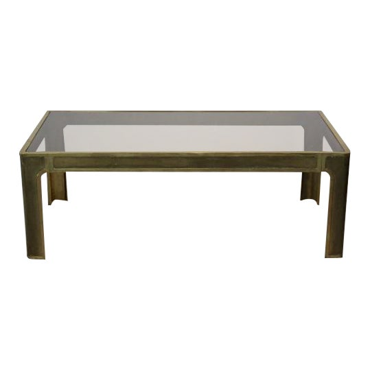 Peter Ghyczy Style Brass and Glass Coffee table - Image 1 of 8