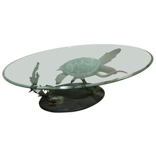 Limited Edition Oval Glass Top Bronze Green Sea Turtle Cocktail Table Titled Honu Solo by Dale Evers For Sale