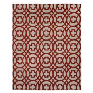Wellington Rust/Gray Hand loom Wool Area Rug - 8'x10' For Sale