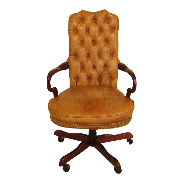 Century Tufted Leather Office / Desk Chair For Sale