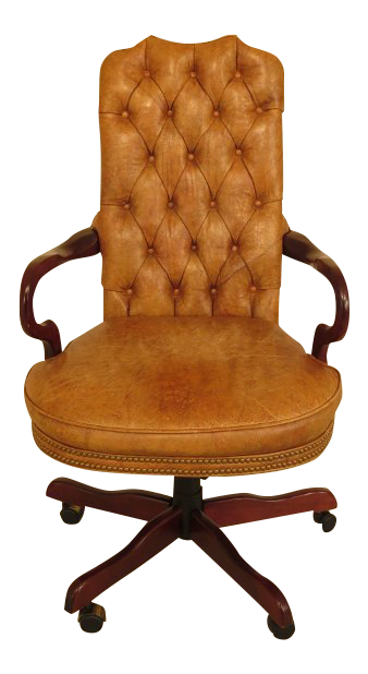 Century Tufted Leather Office / Desk Chair