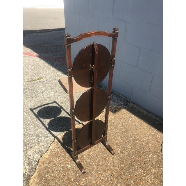 Shabby Chic Vintage Mahogany Folding Dessert Display Stand For Sale - Image 3 of 5