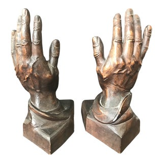 1930s Figurative Hand Carved Wood Hand Sculptures - a Pair For Sale