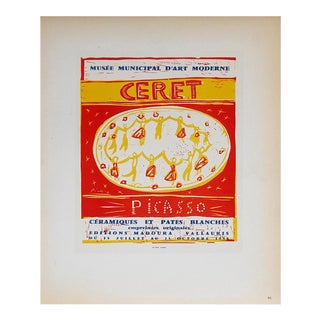 """Pablo Picasso Musee Municipal Ceret 12.5"""" X 9.5"""" Lithograph 1959 Cubism Red For Sale"""