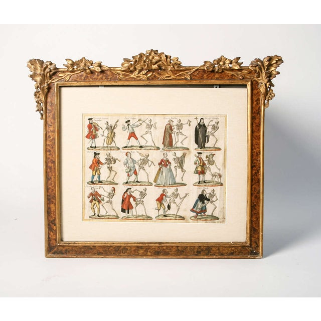 "Illustration 19th Century German ""Dance With Death"" Aquatints Prints - a Pair For Sale - Image 3 of 10"