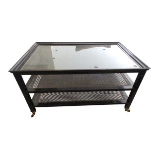 20th Century Hollywood Regency Caned 3-Tier Wood Frame Cocktail Table on Castors For Sale