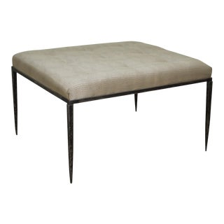 Custom Wrought Iron Large Square Tufted Upholstered Ottoman For Sale