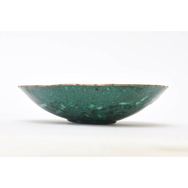 Mid-century Russian Malachite Bowl With Bronze Rim - Image 3 of 9