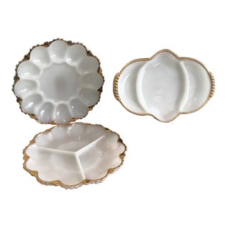 1950s Indiana Glass Milk Glass Serving Plates - Set of 3 For Sale