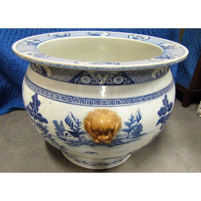 1950s Vintage Asian Blue and White Urn Pot With Applied Face Handles For Sale - Image 5 of 9