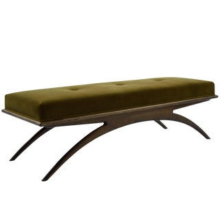 Convex Bench in Olive Mohair For Sale