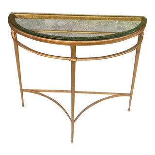 Guilt Metal Beveled Glass Demilune Console Table For Sale