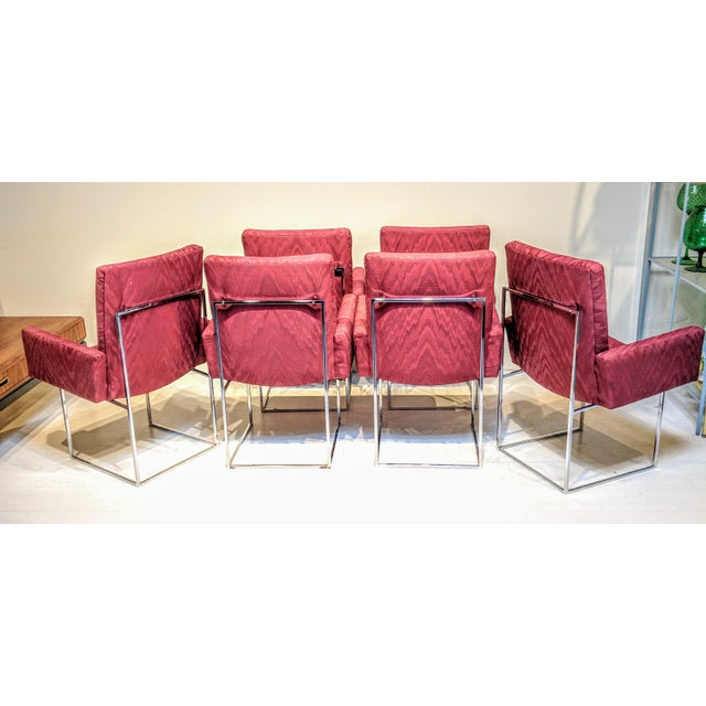 Milo Baughman for Thayer Coggin Mid-Century Modern Burgundy Milo Baughman for Thayer Coggin Captain Dining Chairs - Set of 6 For Sale - Image 4 of 6