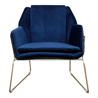 Blue Velvet & Faux Leather Brass Lounge Chair