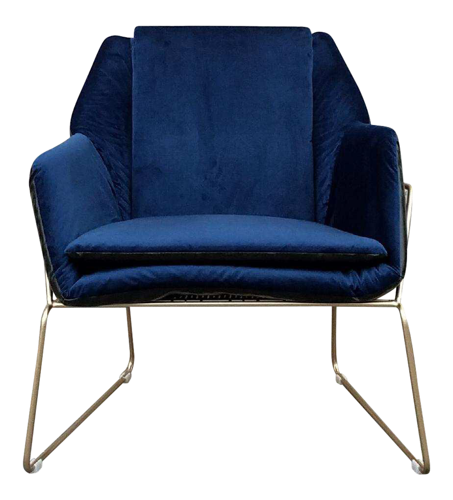 High Quality Blue Velvet U0026 Faux Leather Brass Lounge Chair
