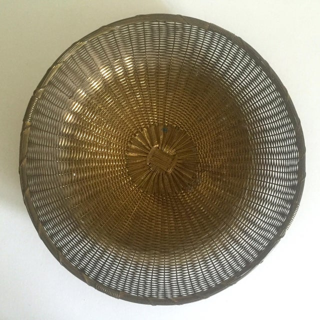 Vintage 1940's Brass Hand Woven Large Round Rustic Metal Basket - Image 2 of 11