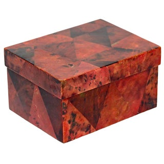 Organic Modern Decorative Box in Exotic Red Lacquered Pen Shell For Sale