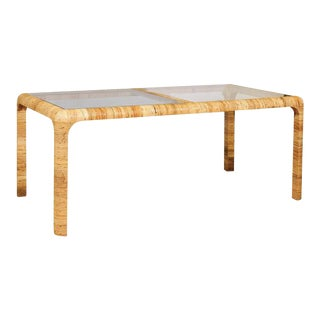 Beautiful Vintage Rattan Wrapped Dining Table or Writing Desk For Sale