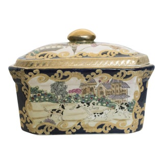 1970s Asian OrnateGold Porcelain Lidded Box For Sale