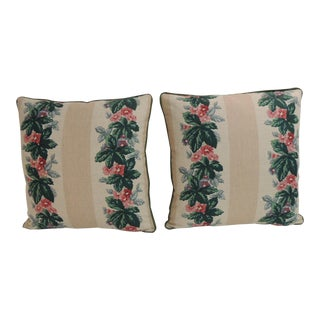 Pair of Vintage Floral Printed Linen Decorative Square Pillows For Sale