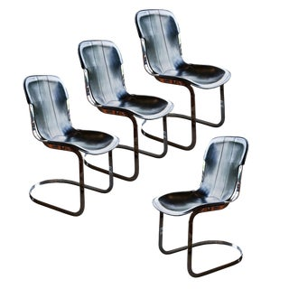 1970s Chrome and Black Leather Dining Chairs, Willy Rizzo, Italy - Set of 4 For Sale