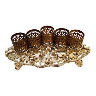 Vintage Jeweled Hollywood Regency Gold Ormolu Lipstick Holder Stand For Sale