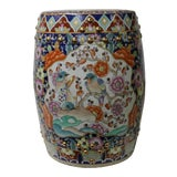 Image of Vintage Oriental Famille Rose Mixed Color Porcelain Round Stool Ottoman For Sale
