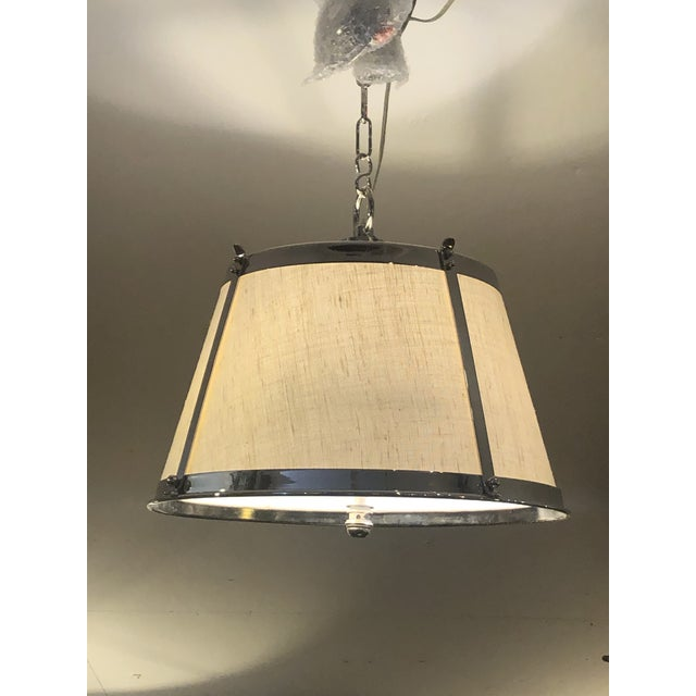 Linen Linen and Polished Nickel Contemporary Chandelier For Sale - Image 8 of 8