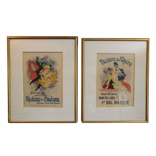 Vintage Mid-Century French Playbill Chromolithographs After Jules Cheret - A Pair For Sale
