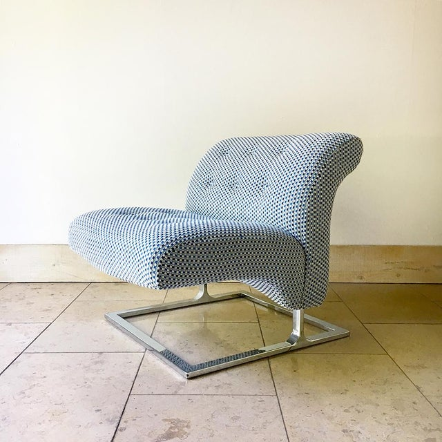 1960s Pair of Cantilever Nickel Plated Steel Framed Lounge Chairs 1960s For Sale - Image 5 of 9