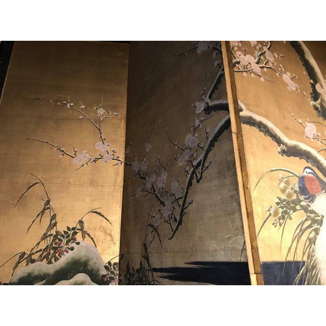 Asian 19th Century Four Panel Kano School Chinese Style Folding Screen or Room Divider For Sale - Image 3 of 13