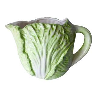 Vintage Cabbage Leaf Majolica Pitcher For Sale