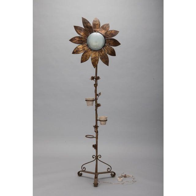 1930's Spanish Gilt Metal Sunflower Floor Lamp - Image 2 of 7