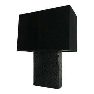 Italian Table Lamp Contemporary Lava Stone Volcano Black, 2018 For Sale