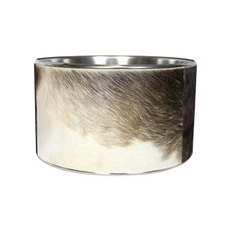 Animal Print Spotted Buffalo Hide and Chrome Modern Drum Shade For Sale