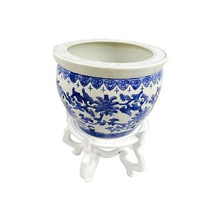 Blue & White Chinoiserie Planter With Stand