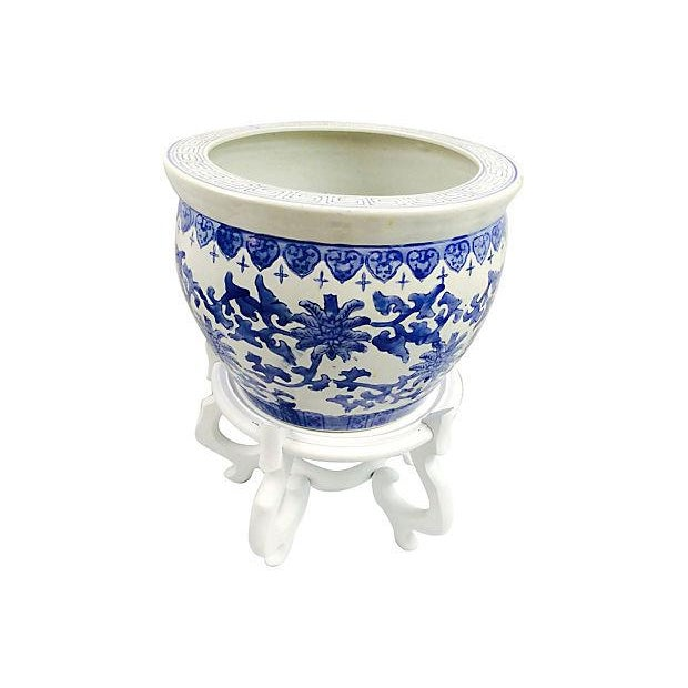 Blue & White Chinoiserie Planter With Stand For Sale