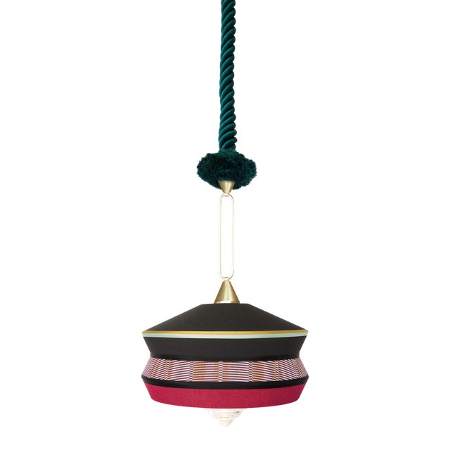 Contardi Calypso Antigua Pendant Light in Black and Moss Green For Sale