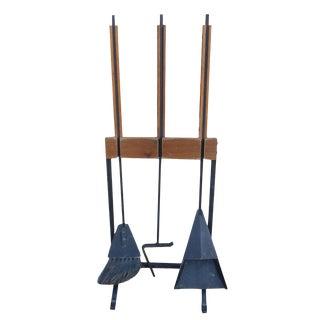 Vintage Scandinavian Teak Wrought Iron Fireplace Tools For Sale
