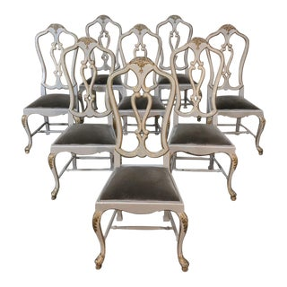 Set of Eight 19th CenturyPainted and Gilded Italian Dining Chairs For Sale