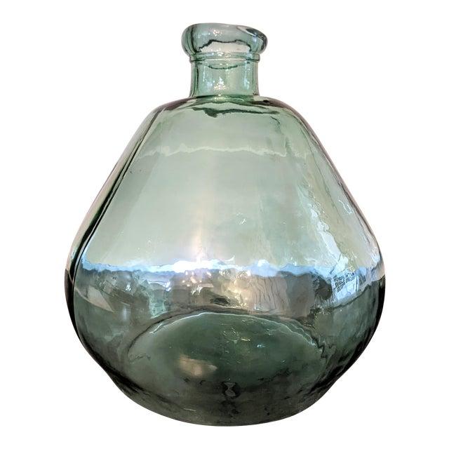 Vintage 1990s Oversized Green Glass Demijohn For Sale