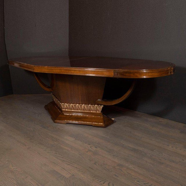 Art Deco Book Matched Mahogany Dining Table With 24-Karat Gilt Acanthus Details For Sale - Image 11 of 12