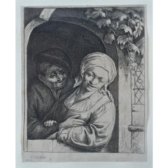 Baroque Antique Dutch 'Village Romance' Etching 1667 by Adrian Van Ostade For Sale - Image 3 of 5
