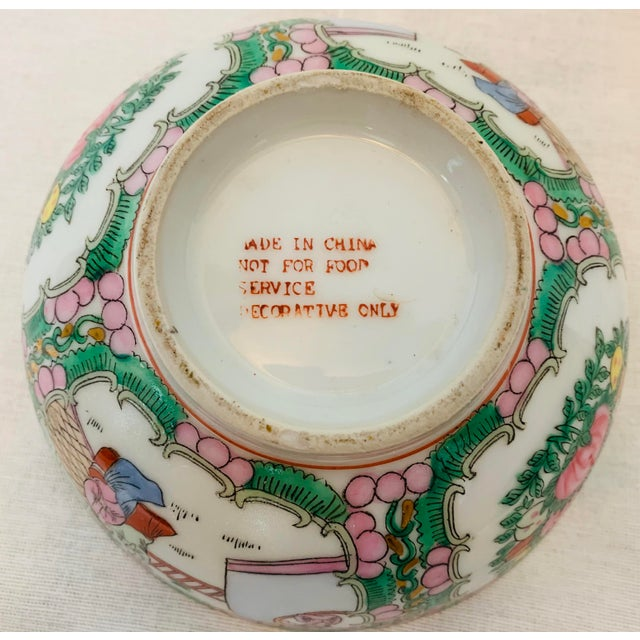 Vintage Chinoiserie Hand Painted Porcelain Famille Rose Medallion Bowl For Sale - Image 4 of 5