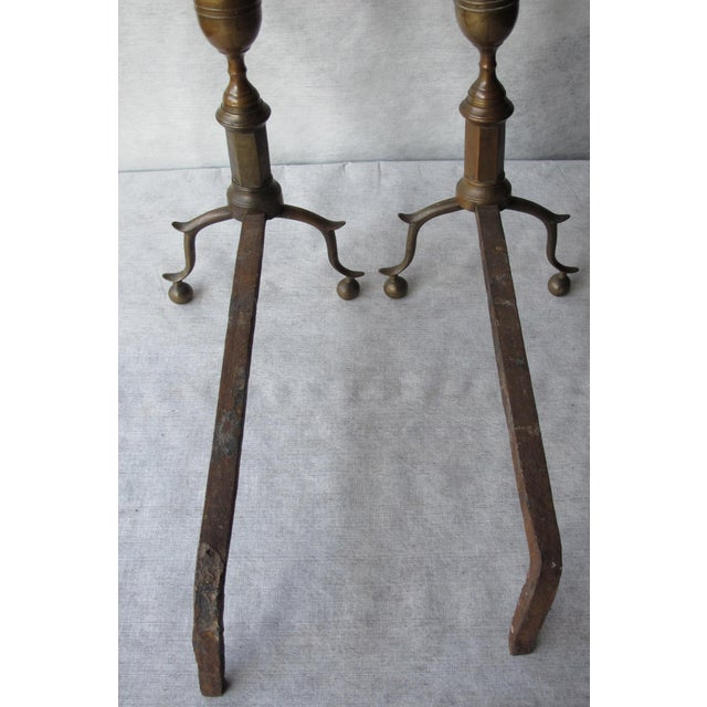 Brass & Iron Lemon Top Andirons - A Pair - Image 11 of 11