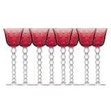 Image of 1960s Saint Louis Bubbles Hock Glasses, Red - Set of 8 For Sale