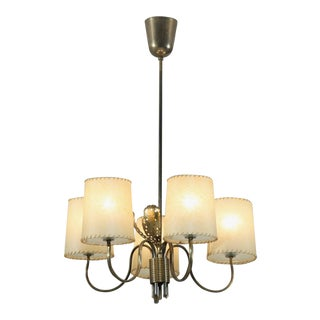 Paavo Tynell Five-Arm Chandelier with Brass Petals, Taito, Finland, 1950s For Sale
