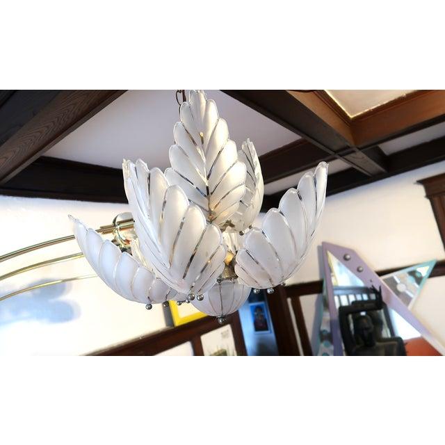 Hollywood Regency Vintage Frosted Glass Hollywood Regency Palm Chandelier For Sale - Image 3 of 8