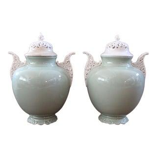 Pair of Lenox Sage Urns